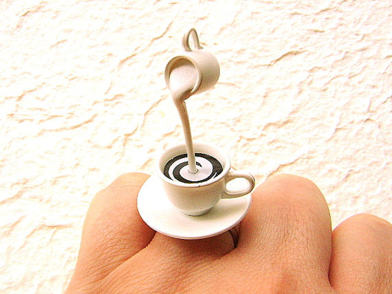 Coffee Ring Floating Miniature Food Ring Coffee by SouZouCreations
